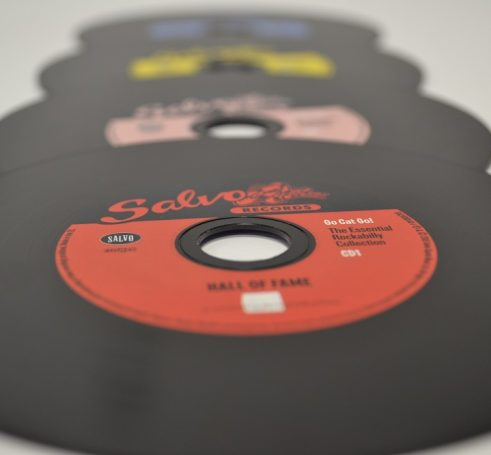 Stylish black vinyl effect CD's